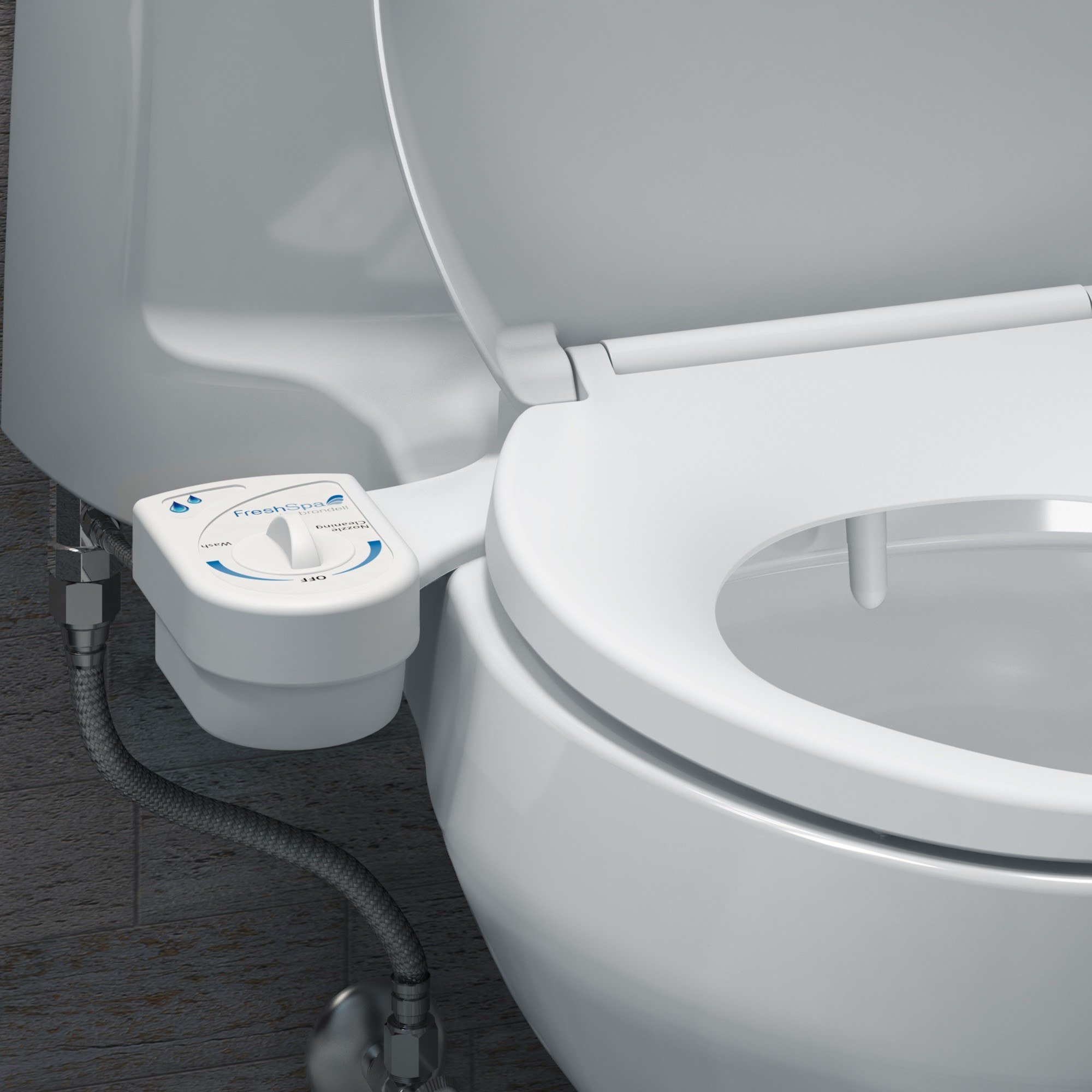 FreshSpa fs10 bidet attachment installed shot closeup